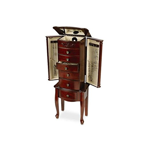 Quot morgan dark cherry solid wood drawer jewelry armoire