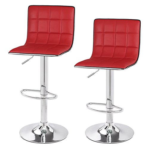 Cheap  Asense Leather Hydraulic Adjustable Barstool Chair with Footrest & Chrome Metal Base..