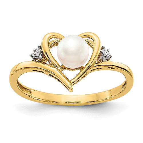 (Roy Rose Jewelry 14K Yellow Gold Diamond & FW Cultured Pearl Ring - Size: 7)