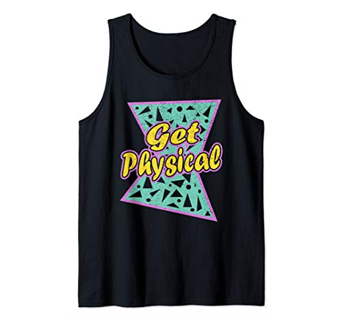 Lets Get Physical Workout Gym Tee Totally Rad 80'S T-Shirt Tank ()