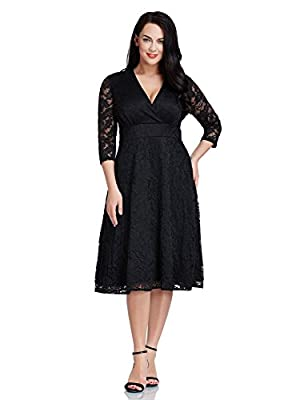 LookbookStore Women's Plus Size Lace Bridal Formal Skater Dress 12W-32W