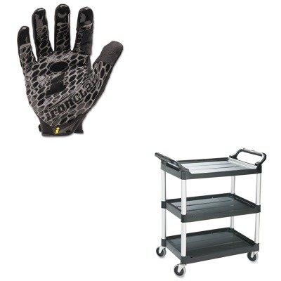 KITIRNBHG04LRCP342488BLA - Value Kit - Rubbermaid Black Light Duty Utility Cart (RCP342488BLA) and IRONCLAD PERFORMANCE WEAR Box Handler Gloves (IRNBHG04L) (Blacklight Gloves)