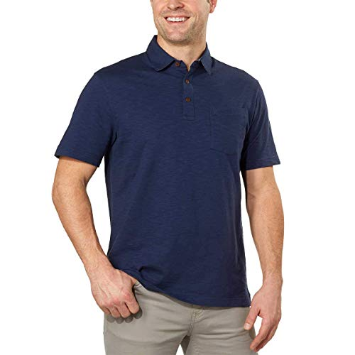 IZOD Mens Chest Pocket Slub Polo Club Blue (Large)