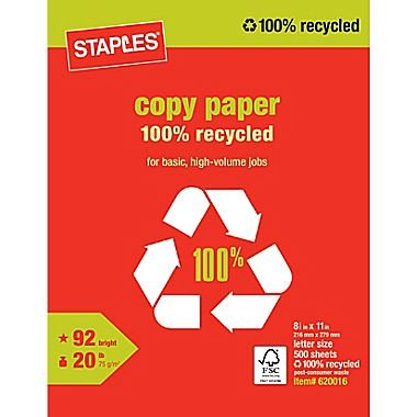 1 Ream - 500 Sheets Staples Poly Wrapped, 100% Recycled, White Multipurpose/Copy/Laser/Printer Paper, 20lb, 92 Bright