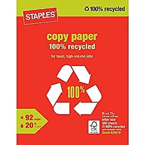 1 ream 500 sheets staples poly wrapped 100 recycled white multipurpose copy laser printer - Staples productos de oficina ...