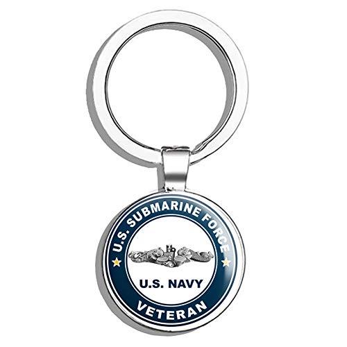 (HJ Media US Navy US Submarine Force Veteran Silver Dolphins Military Veteran USA Pride Served Metal Round Metal Key Chain Keychain Ring)