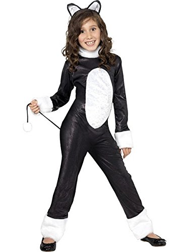 [Smiffy's Children's Cool Cat Girl Costume, Jumpsuit, Tail & Headpiece, Color: Black, Ages 10-12, Size: Large,] (White Cat Costume For Women)