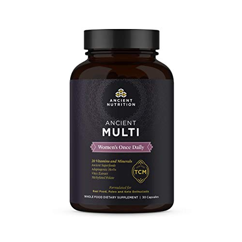 Ancient Nutrition, Ancient Multi Women s Once Daily – 20 Vitamins Minerals, Adaptogenic Herbs, Methylated Folate, Paleo Keto Friendly, 30 Capsules