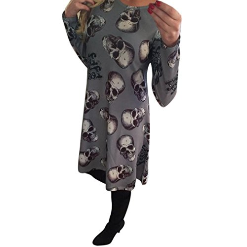 Halloween Skull Dress,Han Shi Fashion Womens O Neck Long Sleeve Evening Party Tunic Shirt (XL=(US L), Gray)