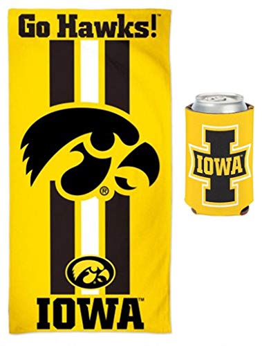 WinCraft Bundle 2 Items: Iowa Hawkeyes NCAA School Beach/Dorm 30 x 60 Inch Towel & Can Coolie