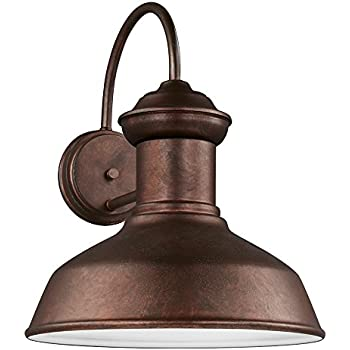 Sea Gull Lighting 8647701-44 Fredricksburg One-Light Outdoor Wall Lantern, Weathered Copper Finish