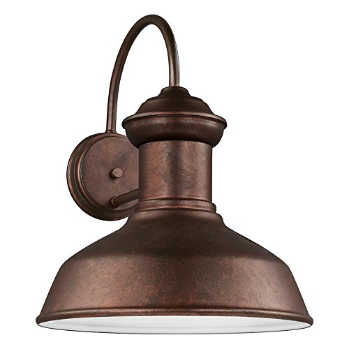 Sea Gull Lighting 8647701-44 Fredricksburg One-Light Outdoor Wall Lantern, Weathered Copper Finish - Copper Wall Lamp