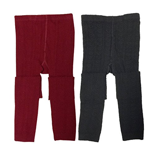 Wrapables Burgundy and Black Cotton Heart Knit Leggings For Toddlers (Set Of 2), 5-6 Years