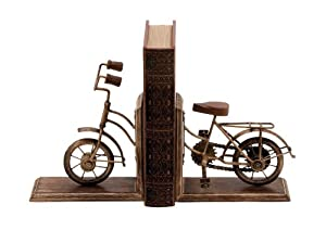 Deco 79 Metal Cycle Poly-Stone Bookend, 7 by 9-Inch