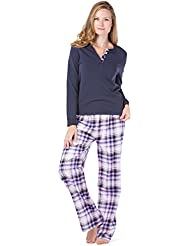 Fishers Finery Womens Pajama Set; Fleece Henley Top and Flannel Pants With Gift Box