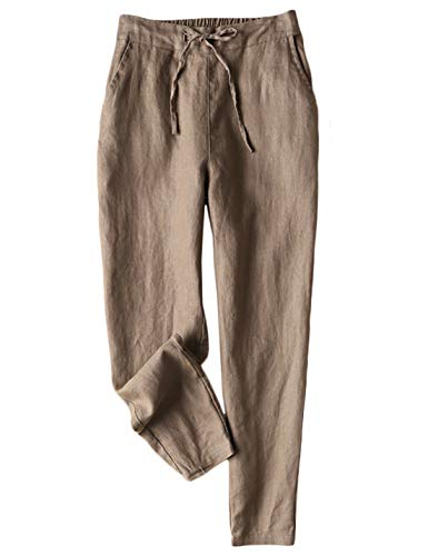 Jenkoon Women's Linen Pants Back Elastic Drawstring Tapered Pants Lightweight Summer Trousers (Brown, Small)