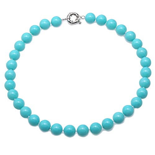 JYX Pearl 12mm Vibrant Blue South Sea Shell Pearl Necklace Round Beads Jewelry 18''