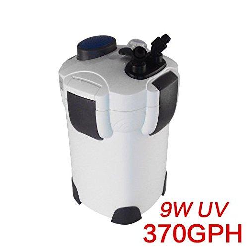 Pingkay Media 4-stage External Canister Filter with 9-watt Uv Sterilizer for Aquarium 370 GPH Builtin Pump Kit (Aquarium External Filters)