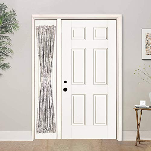 (DriftAway Adrianne Door Curtain Sidelight Thermal Rod Pocket Room Darkening Privacy Door Panel Single Curtain with Bonus Adjustable Tieback 25 Inch by 72 Inch Plus 1.5 Inch Header Beige and Gray)