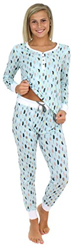 Sleepyheads Women's Sleepwear Knit Long Sleeve Henley and Pant Pajamas PJ Set-Feathers (SH1150-4088-LRG)