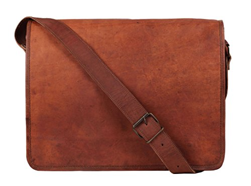 15 Inch Genuine Leather Handmade Vintage Rustic Crossbody Messenger Courier Satchel Bag Gift Men Women ~ Carry Laptop Computer Book ~ Rugged & Distressed ~ Everyday Office Work College School Business