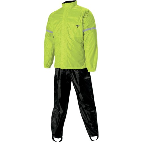 Nelson-Rigg WP-8000 Weatherpro Men's 2-Piece Sports Bike Motorcycle Rain Suits - Black/Hi-Visibility Yellow / - Sport Suit Bike
