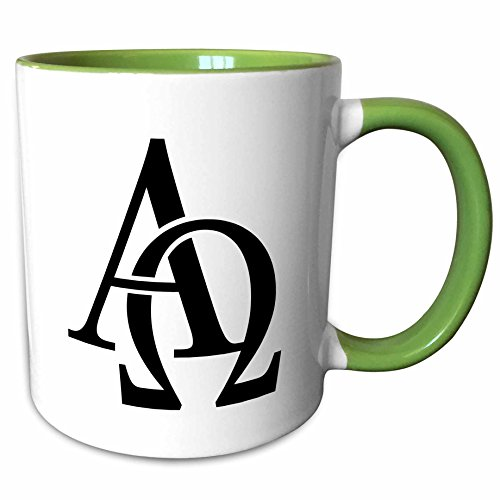 3dRose EvaDane - Signs - Alpha Omega - 15oz Two-Tone Green Mug (mug_157419_12)