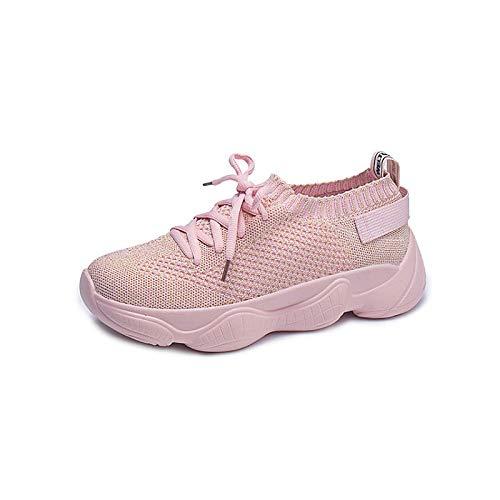 ZHZNVX Zapatos de Mujer de Malla/Tela elástica Summer Comfort Sneakers Creepers Punta Redonda Blanca/Rosa Pink