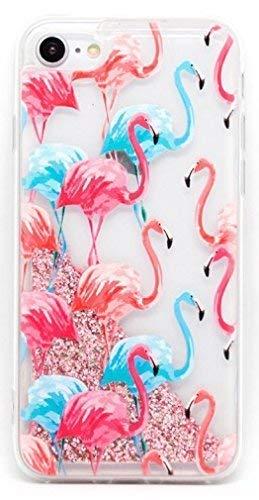 Coovertify Funda Rosa Agua Flamencos Rosa y Azules iPhone XR, Carcasa con Glitter Purpurina Brillante escarchada TPU Silicona con liquido Interior ...