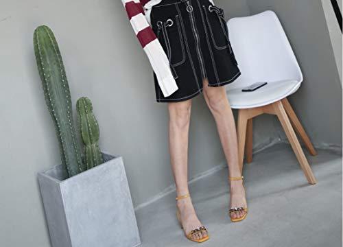Main Peeps en Plate Haute Cuir Chaussures Jaune Haute LIANGXIE Mode Ouvert Forme Sandales Hauts À À Été Bout La Sandales Femmes Nouvelle Talons 2018 Lady Ultime Couture Talons gOwWfPqYf