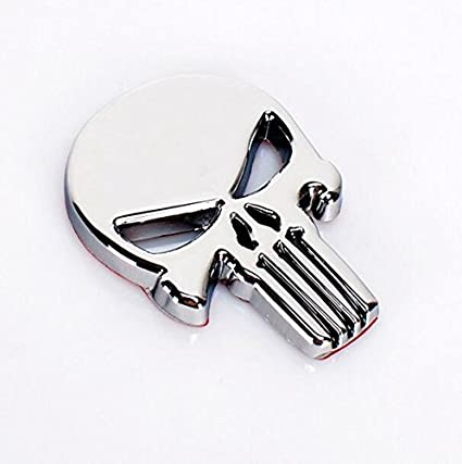 3D Metal Decal Skull Car Motorcycle Sticker Punisher Vehicle (Sliver) FUMING