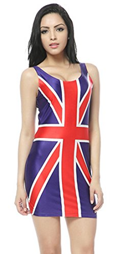 Ginger Spice Costume (Thenice Women's Sexy Slim Dress Elasticity Vest Skirt (British)