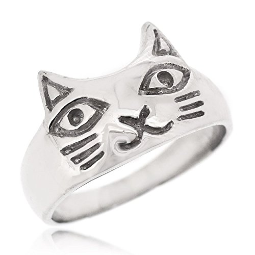 SOVATS Cute Cat Ring For Women 925 Sterling Silver Rhodium Plated - Simple, Stylish &Trendy Nickel Free Ring, Size 6