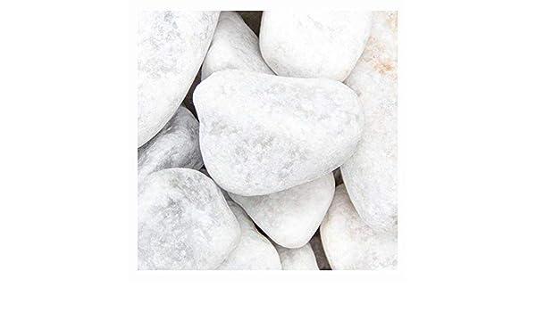 Piedras de gavión Carrara Kies, 40 – 80 mm, preciosa piedra de mármol blanco, grava decorativa para el jardín, saco de 20 kg (cantidad mínima de pedido 15 unidades), piedras de piedra,