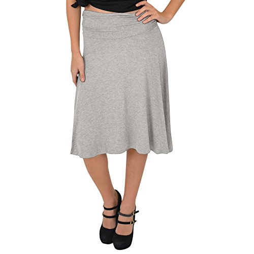 Stretch is Comfort Women's Knee Length Flowy Skirt Heather Gray X-Large ()