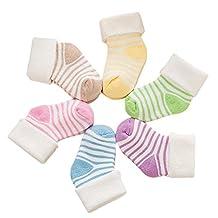 Chinatera Newborn Baby Socks Infant Soft Striped Cotton Socks (Color Random)