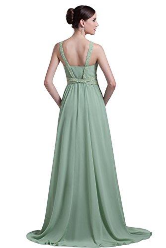 Dress Pink Chiffon DYS Prom s Neck Women V Dresses Beaded Bridesmaid Long Evening qB4IpCwBx