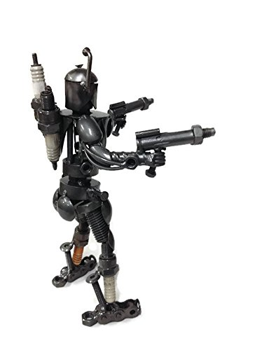 Recycled//scrap metal standing warrior sculpture handmade 8.5 Tall The Handcrafted