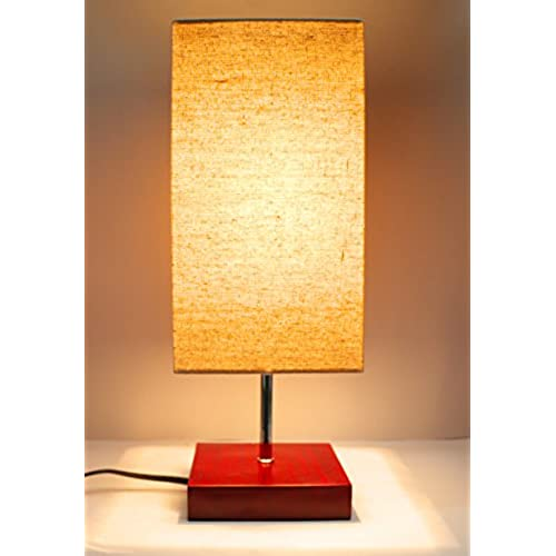 17H Mini Living Room Indoor Table Lamp Red Base Square