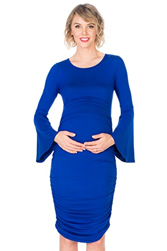 My Bump Women's Maternity Fitted Bell Sleeve Dress W/Ruched (Royal SD, X-Large) by My Bump