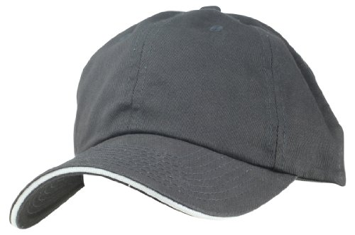 Blank Hat Chino Washed Sandwich Ball Cap in Black and White (Cap Blank Sandwich)