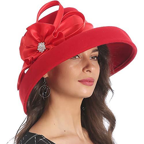 (FORBUSITE Women Wool Felt Hats Church Dress Hat for Winter Vintage Handmade Red)