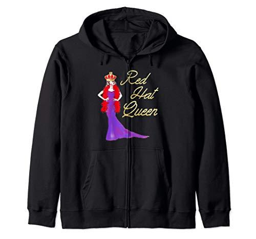 (Red Hat Society Queen Elegant Vintage Gift Zip Hoodie)