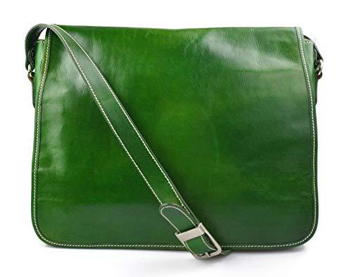 Bolso messenger de piel bandolera de cuero bolso cartero bolso de hombre piel cartera de cuero bolso de espalda maletin de piel verde