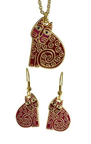 Laurel Burch Jubilee Cat Pink Cloisonne Necklace/Earrings Set