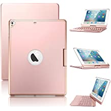 New iPad 9.7/iPad Pro 9.7/iPad Air Keyboard Case,Boriyuan 7 Color Backlit Bluetooth Keyboard Case Folio Smart 360 Rotate Stand Keyboard Cover for iPad Air/ Air 2/iPad Pro 9.7 and iPad 9.7(Rose Gold)