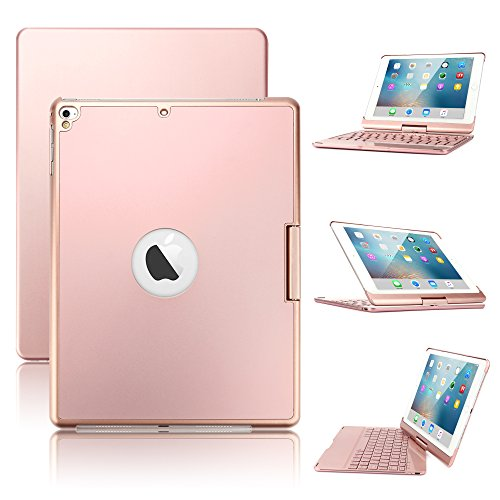 New iPad 9.7/iPad Pro 9.7/iPad Air Keyboard Case,Boriyuan 7 Color Backlit Bluetooth Keyboard Case Folio Smart 360 Rotate Stand Keyboard Cover for iPad Air/Air 2/iPad Pro 9.7 and iPad 9.7(Rose Gold)