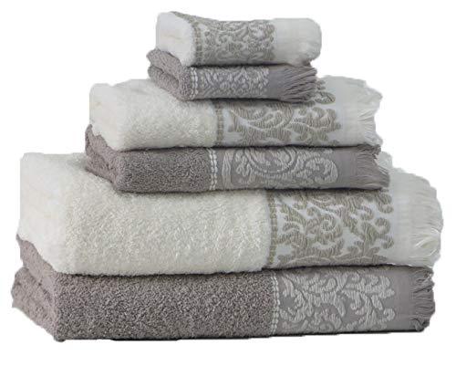 RAAF TEXTIL Set of 6 Bath Towels 2-100x150 2-50x100 2-30x50 white