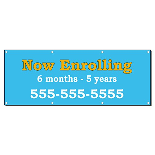 Now Enrolling Day Care Child Care School Custom Banner Sign 2 X 4 W/ 4 Grommets