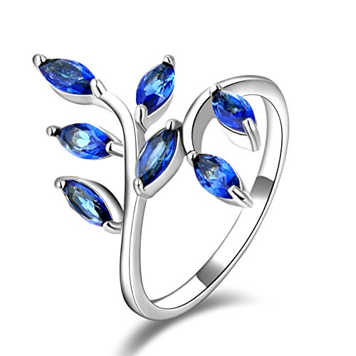 en's Unique Leaf Design White Gold Plated Blue Cubic Zirconia Adjustable Opening Rings Band for Valentine's Day Promise Engagement Size 9 ()
